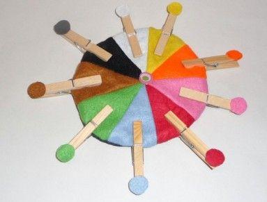 Didaktická pomôcka, ktorá pomôže deťom naučiť sa farby hravo.   Cieľom je priradiť kolíček s farebnou kvetinkou k totožnej farbe.   Okrem učenia sa farieb ( v rodnom ale aj v cudzom jazyku) slúži aj na tréning jemnej motoriky.   Tým, že si Váš drobček musí jednou rúčkou pridržať koliesko a druhou kolíček pripnúť zamestnáva obe rúčky a teda zapája obe mozgové hemisféry súčasne. Týmto dosahujeme princípu Montessori pegagogiky.   Materiál : Povrch -  filc, výplň -  duté vlákno, spodná časť…