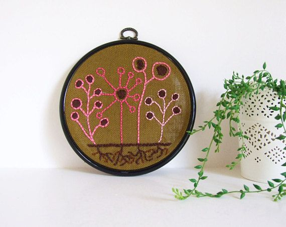 Mid Century Style Flowers  Handmade hoop embroidery by