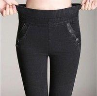 Wish   2017 Spring And Autumn High Waist Elastic Plus Size women Skinny Pants Imitation Denim pants Femme leggings S-4XL