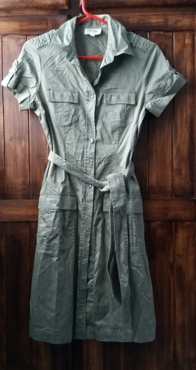 Oasis jeans, military green shirt dress, size 10, used, belt, buttons | eBay