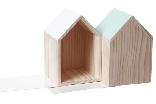 Étagère Maison Serre-livres en bois - Set de 2