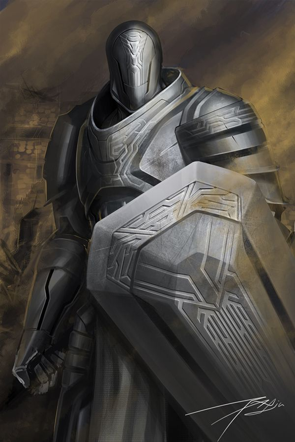 Striking Design, reminds me of the Knights of Order in Oblivion - Unknown Artist (Tell me if you know)