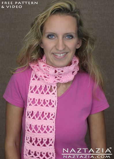 DIY Free Pattern Crochet Pink Ribbon Awareness Breast Cancer Scarf with YouTube Video by Naztazia