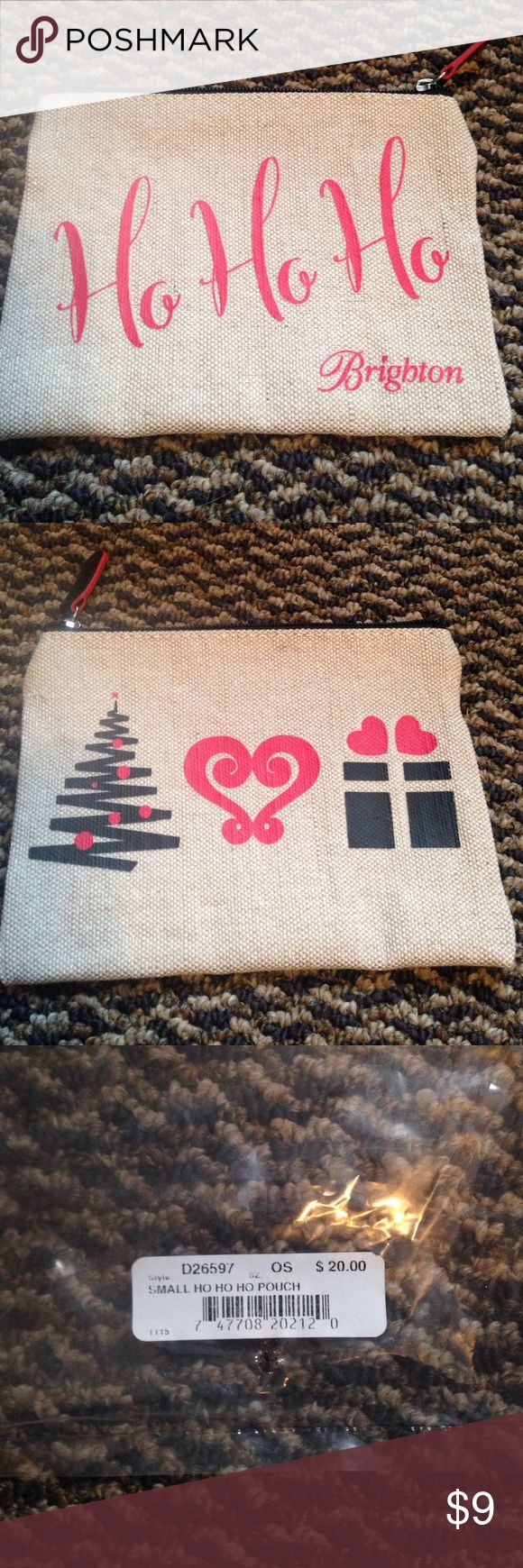 """Brighton small cosmetic bag pouch Brand new! What a great gift !   7 x 5"""" one side has prints of Christmas tree, Heart and present. Other side days Ho Ho Ho!  Burlap color Brighton Bags Cosmetic Bags & Cases"""
