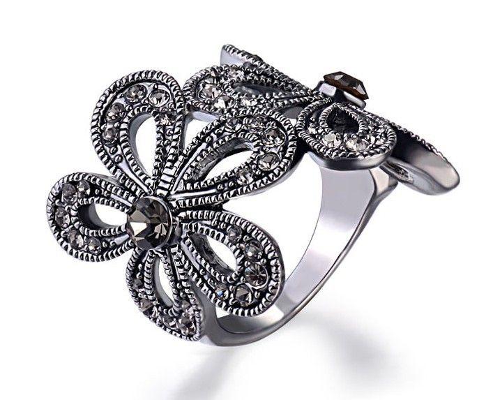 dichiarazione di moda anelli per le donne placcato rodio nero cz anello di diamanti