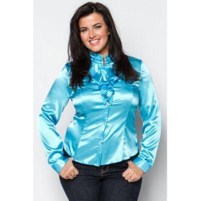 Blue ruffle-neck satin blouse |