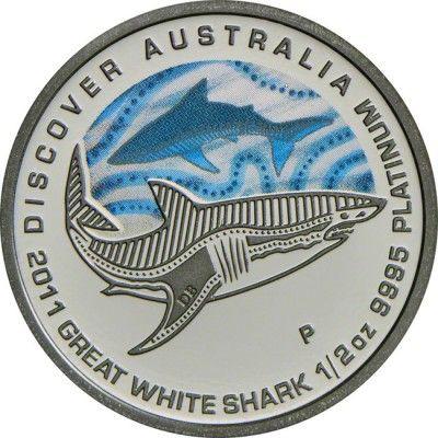 50 Dollar Platin Discover Australia 2011: Großer Weißer Hai - 1/2 Unze Farbe PP