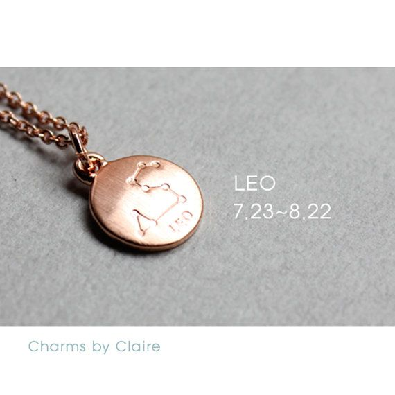 Hey, I found this really awesome Etsy listing at https://www.etsy.com/listing/450496924/leo-zodiac-disc-charms-rose-gold