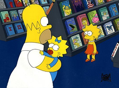 Original Homer, Lisa and Maggie art from The Simpsons cartoon - one of a kind Animation Artwork production cel and original background set-up