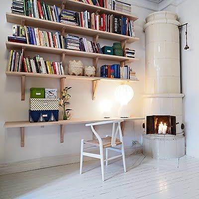 shelvesSmall Apartments, Bookshelves, Offices Spaces, Interiors, Small Style, Corner Fireplaces, Small Spaces, Home Studios, Loft Apartments