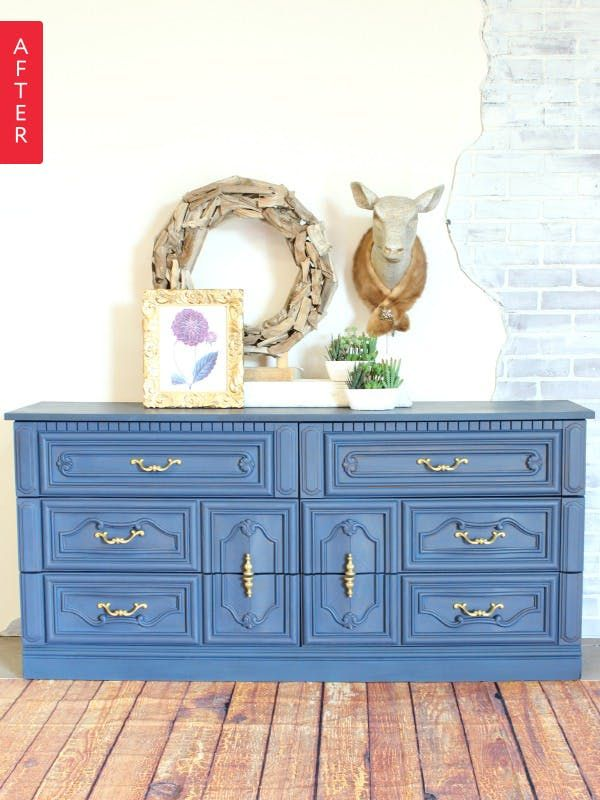 Allison scored this dresser for $25. While she loved the detail, the faux wood wasn't doing it for her