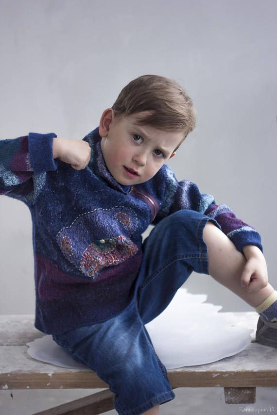 Baby Jumper Felted Blue Sweater Sweatshirt Boy Sweater Boy