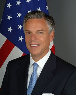 January 16, 2012  Jon Huntsman, a Republican presidential candidate, drops out of the race.    Jon Meade Huntsman, Jr. (born March 26, 1960) is an American politician, businessman, and diplomat who served as the 16th Governor of Utah from 2005 to 2009, and as United States Ambassador to Singapore from 1992 to 1993, and China from 2009 to 2011. He has served in the administrations of four U.S. Presidents and was a candidate for the 2012 Republican presidential nomination.