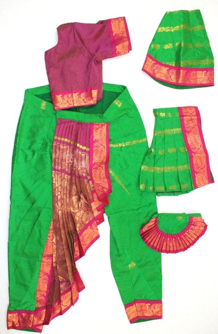 Bharatanatyam costume readymade art silk OrgPnk36