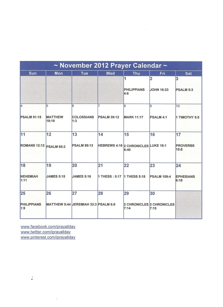 November Calendar 2012 : Images about prayer calendars on pinterest