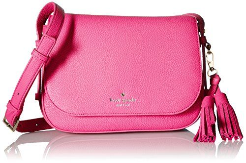LOVE this kate spade new york Orchard Street Penelope Cross-Body Bag in Tulip Pink.  Made from 100% cow leather with the signature black/white stripe lining.  This shoulder bag features pebbled-leather with a fold-over flap with metallic logo and a detachable tassel accent.