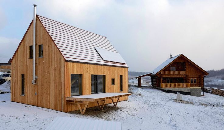 B.Kierulf - CREATERRA: - Liptovská Kokava (energeticky pasívne domy) <ecological approach> strawbale palens/village character/ = obvodobé steny zo slamených panelov, pasuje do povdonej architektúry, masívne drevo bez povrchovej úpravy