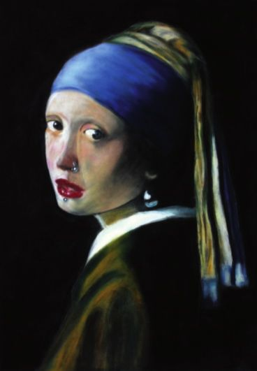 Snapple - How do you do, Mr. Vermeer?, 2012, Pastel on velour-paper, 51 x 35,5 cm. Based on Jan Vermeer, Het meisje met de parel, 1665, Mauritshuis Den Haag. Courtesy of Egbert Baqué Contemporary Art, Berlin.