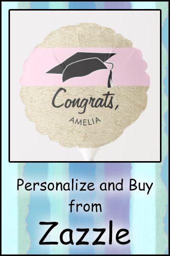 Modern Rustic Pink Congrats Graduation Balloon | Zazzle.com
