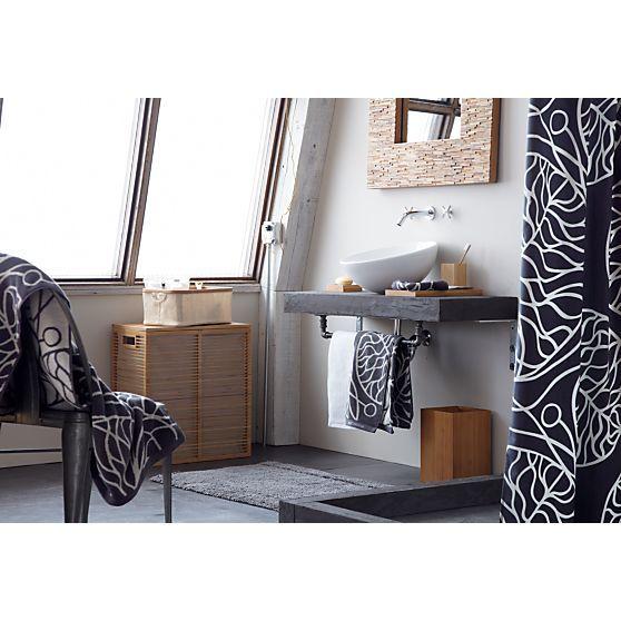 Marimekko Bottna Slate Shower Curtain in Shower Curtains, Rings | Crate and Barrel