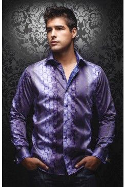 Find this AU NOIR Ambrosia purple men's shirt at www.mensdressshirts.ca