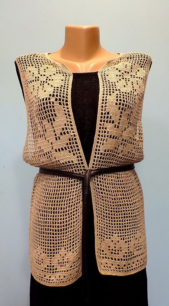 Boho Chic Filet Crochet chaleco largo rosas corazones por lalanart