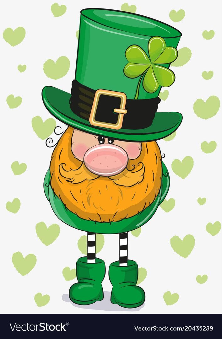 Cute Cartoon Leprechaun With Clower Leaf On A Hearts Background Download A Free Preview Or H Saint Patricks Day Art St Patricks Crafts St Patricks Day Clipart
