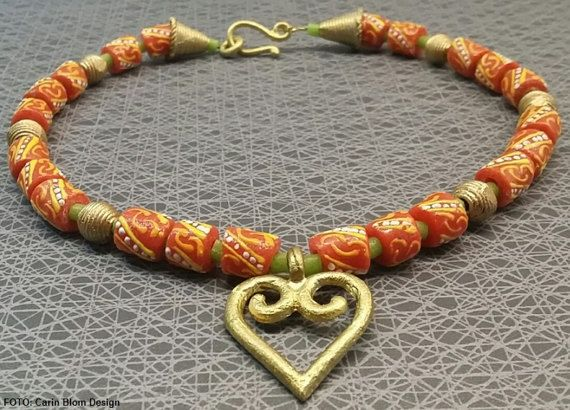 Tribal brass heart orange lime green Krobo by CBlomsDesign on Etsy