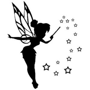 25 best ideas about disney castle silhouette on pinterest for Black and white tinkerbell