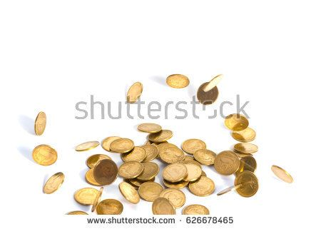 Falling gold coins. Money on a white background, business concept. shallow focus.