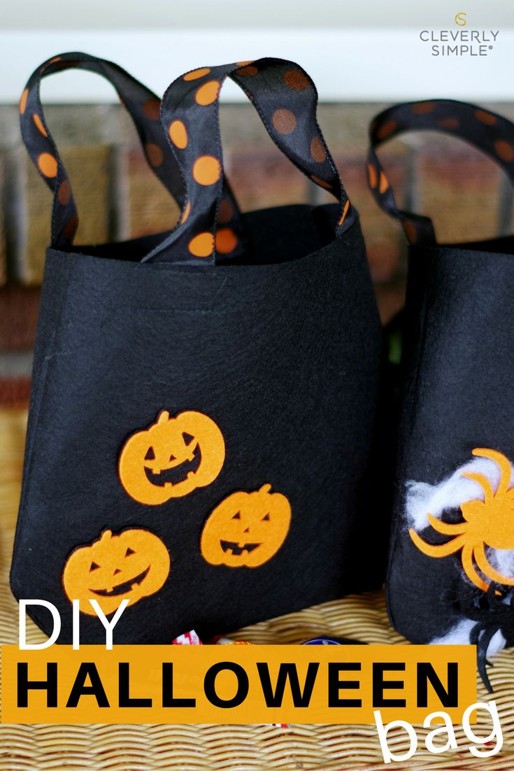 This DIY Halloween bag for trick or treating is made of felt. It's easy to make and is great for kids!