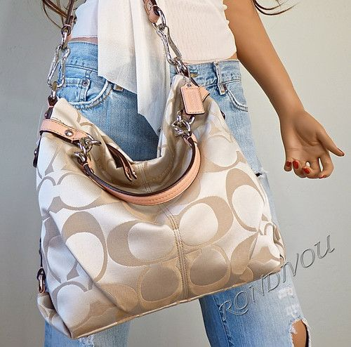 NWT COACH BROOKE SOFT KHAKI PINK PEACH SIGNATURE HOBO TOTE SHOULDER BAG PURSE