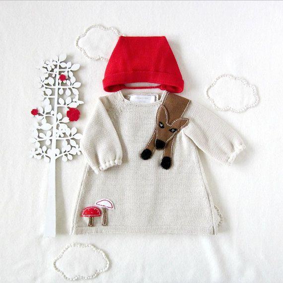 Baby maglia abito e cappuccio. Cappuccetto rosso. 100% lana. FATTO PER ORDINE. on Etsy, 75,54€
