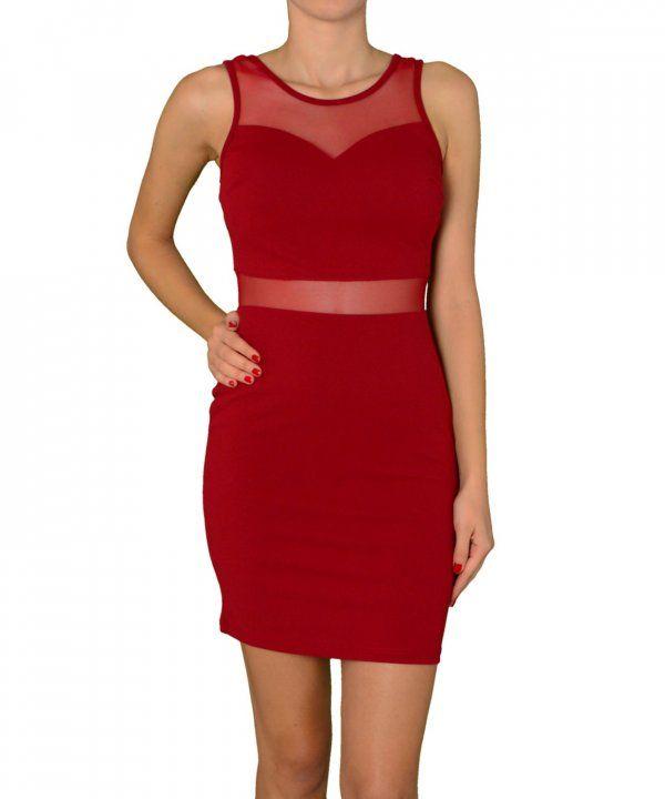 Γυναικείο φόρεμα με διαφάνειες μπορντό 3465 #torouxo #γυναικειαφορεματα