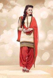 Cream Color Elegant & Beautiful Unstitched Banarasi Jacquard Fabric Patiala Suit With Amazing Embroidery Work