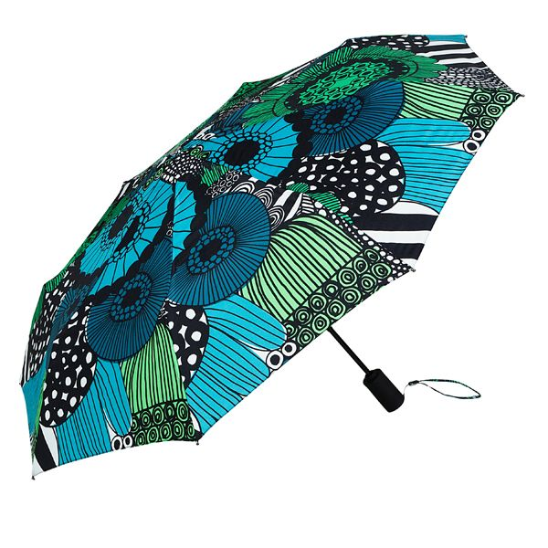 Love the colors in this classic Marimekko design fabric.  Lux automatic umbrella by Marimekko pops into shape by pressing a button and is small enough to fit in a handbag.