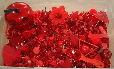Seeing red? This Valentines-themed sensory tub has it ALL. Check out Counting Coconuts for a complete list of goodies in the tub that is sure to have your kids coming back for a second look! Pinned by SPD Blogger Network. For more sensory-themed pins, see http://pinterest.com/spdbn