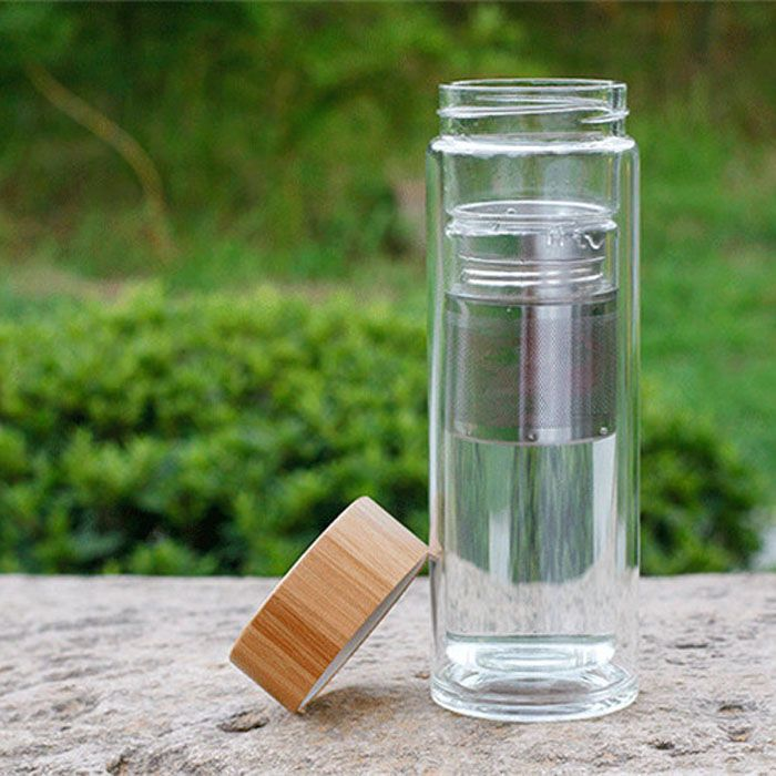 ZOGIFT double wall glass bottles manufacturer selling glass tea infuser water bottle with bamboo lid