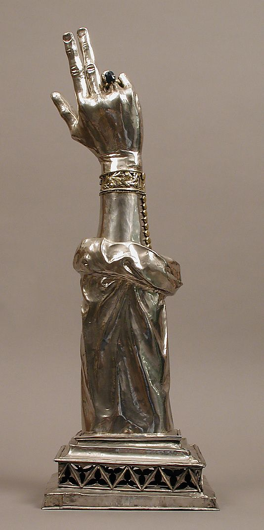 Reliquary Arm of St. Valentine. Swiss. 14th century. Silver, partial gilt, sapphire.