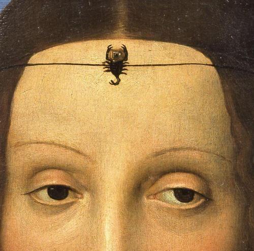 Raffaello Sanzio - Portrait of Elisabetta Gonzaga, detail. 1503. Is she wearing a tiny scorpion??