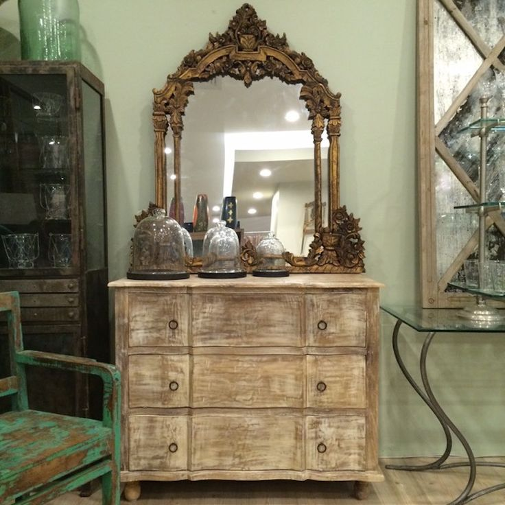 Baroque Style Heavy Carved Mirror and Timber Commode www.leforge.com.au