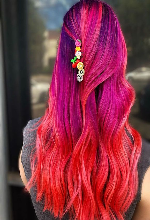 Bright Hair Cold Drinks And Fruit Shaped Hair Color Ideas Vivid Hair Color Hair Color Hair Highlights