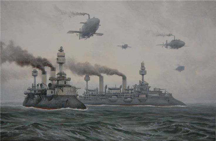 Fleet at sea by Vadim Voitekhovitch, *voitv on deviantART | via Steampunk Tendencies