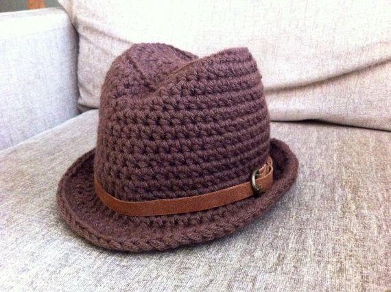 Indiana Jones Fedora with leather strap - Baby to Toddler Sizes - Brown  Fedora Hat with leather strap - Baby Fedora - Fedora Hat  b35b7fd8f91