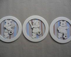 Trio Quadros Ursos Estilizados