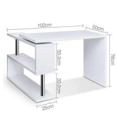 Computer Desk Corner Table w/ Rotating Bookshelf Study Student Office White