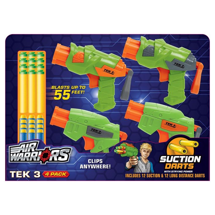 Buzz Bee Toys Air Warriors Tek 3 Four Pack with12 Darts