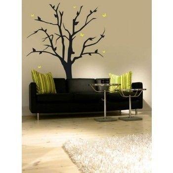 INTERIEURSTICKERS: Sticker van een zwarte boom voor de woonkamer