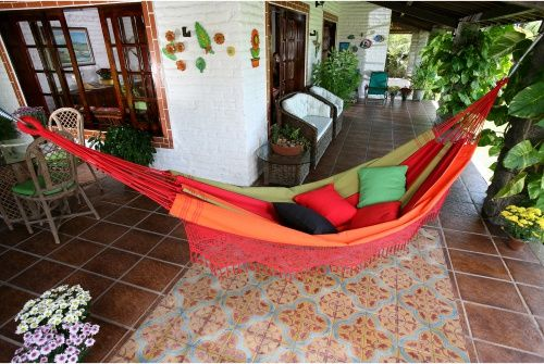 XL Rustica Stripe Hand Woven Brazilian Hammock with Fringe - Hammocks at Hayneedle