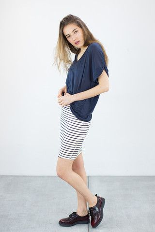 Pencil Skirt Miramare Cream Stripes
